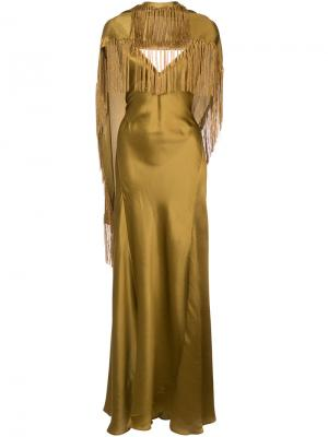 Fringed asymmetric draped gown Gabriela Hearst. Цвет: металлический
