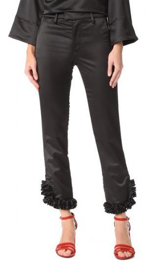 Атласные брюки JOUR/NE. Цвет: голубой