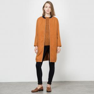 Пальто длинное в стиле бомбер La Redoute Collections. Цвет: карамель,темно-синий