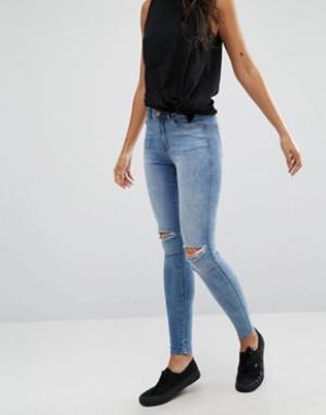 Dr Denim Рваные супероблегающие джинсы с классической талией Lexy. Цвет: синий