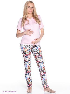 Брюки для беременных 40 недель. Цвет: молочный, голубой, желтый, розовый