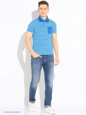 Футболка-поло Mark Formelle. Цвет: синий, голубой