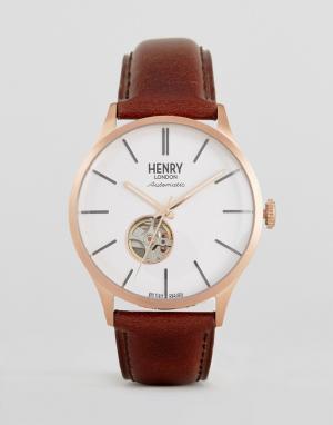 Henry London Часы со светло-коричневым кожаным ремешком. Цвет: рыжий