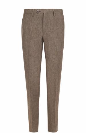 Льняные брюки прямого кроя Germano. Цвет: темно-бежевый