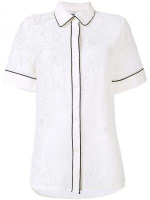 Кружевная рубашка с контрастной окантовкой Essentiel Antwerp. Цвет: белый