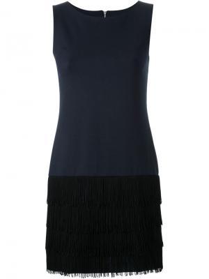 Платье без рукавов с бахромой Guild Prime. Цвет: синий