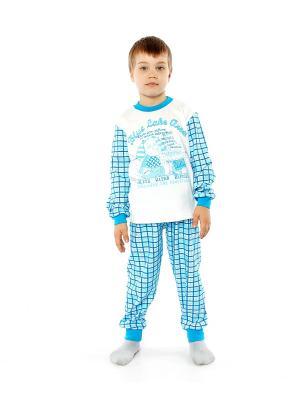 Пижама Апрель. Цвет: голубой, белый, бирюзовый