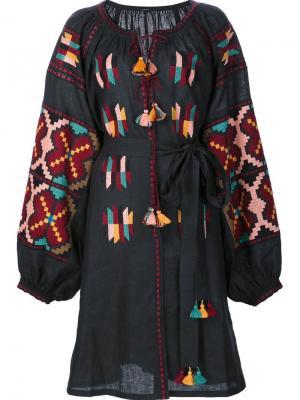 Крестьянское платье с вышивкой Vita Kin. Цвет: чёрный