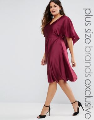 Truly You Атласное платье с кейпом и вырезом капелькой сзади. Цвет: красный