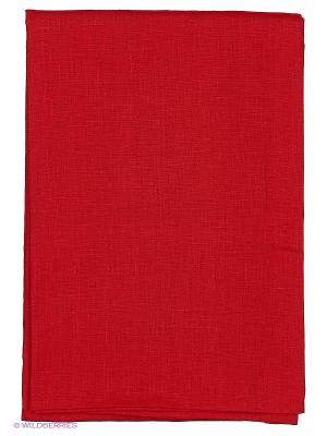 Скатерть Красный лен 140x140 см T&I. Цвет: красный
