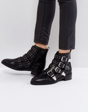 Office Кожаные ботинки с заклепками и пряжками Academic. Цвет: черный