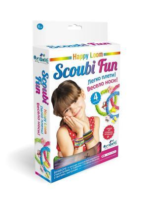 Happy loom. Scoubi Fun. Набор для плетения браслетов в коробке. Loom. Цвет: зеленый, голубой, желтый