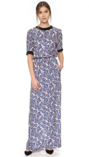 Вечернее платье с короткими рукавами Emanuel Ungaro. Цвет: синий мульти