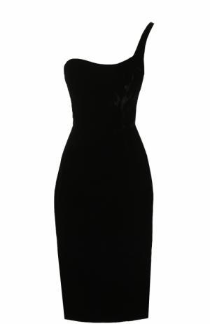 Приталенное платье-миди асимметричного кроя Oscar de la Renta. Цвет: черный