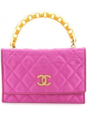 Quilted hadbag Chanel Vintage. Цвет: розовый и фиолетовый