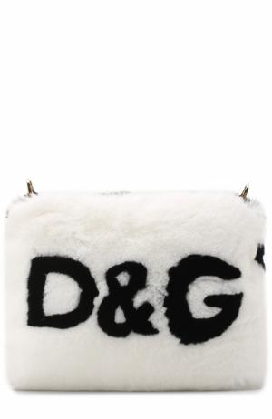 Сумка из меха кролика с логотипом бренда Dolce & Gabbana. Цвет: черно-белый