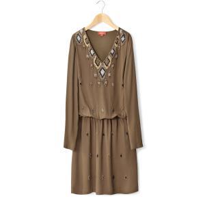 Платье с длинными рукавами, вышивкой,  V-образным вырезом RENE DERHY. Цвет: хаки