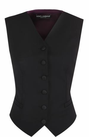 Жилет с контрастной шелковой спинкой Dolce & Gabbana. Цвет: черный