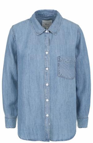 Джинсовая блуза прямого кроя с накладным карманом Rails. Цвет: голубой