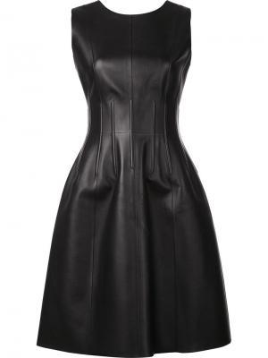 Кожаное расклешенное платье Oscar de la Renta. Цвет: чёрный