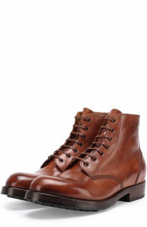Кожаные ботинки на шнуровке с круглым мысом Officine Creative. Цвет: коричневый