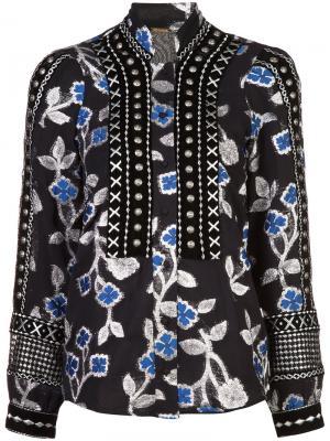 Блузка с вышитыми цветами Dodo Bar Or. Цвет: чёрный