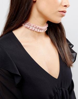 River Island Розовое ожерелье со стразами. Цвет: розовый