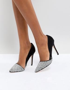 Miss KG Туфли-лодочки с блестящей серебристой отделкой Eloise. Цвет: серебряный