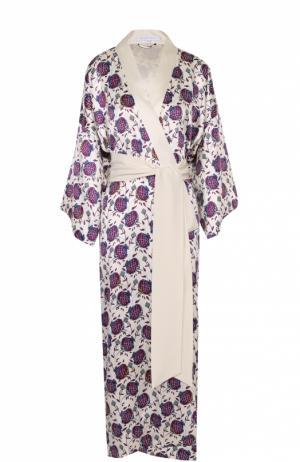 Шелковый халат с цветочным принтом и поясом Olivia Von Halle. Цвет: разноцветный