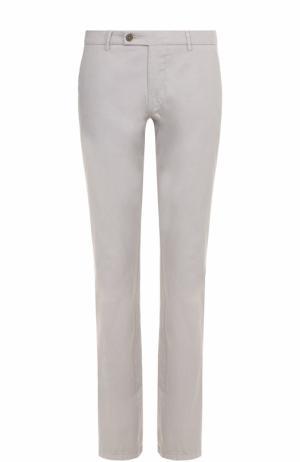 Хлопковые брюки прямого кроя Berwich. Цвет: светло-серый