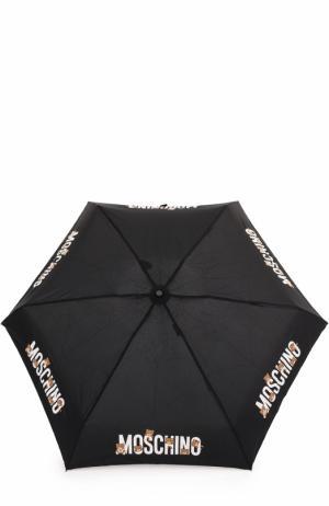 Складной зонт с брелоком Moschino. Цвет: черный