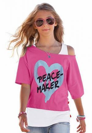 Набор из 2 предметов от : кофточка и топ для девочек CFL. Цвет: ярко-розовый + белый