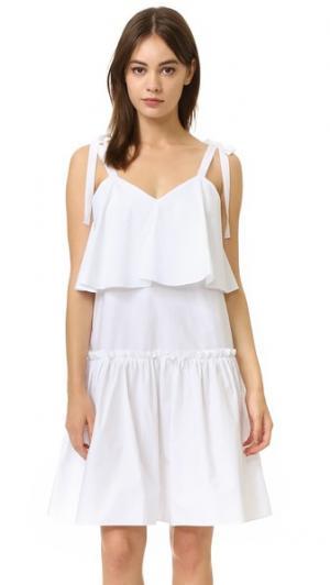 Платье из ткани ENGLISH FACTORY. Цвет: оттенок белого