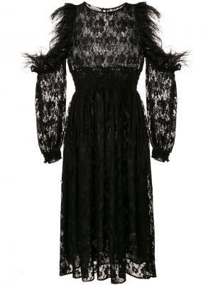 Кружевное платье с длинными рукавами Ainea. Цвет: чёрный