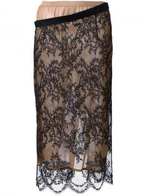 Кружевная юбка-карандаш Erika Cavallini. Цвет: чёрный
