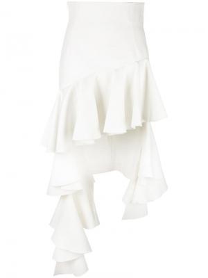Асимметричная юбка с оборками Jacquemus. Цвет: белый