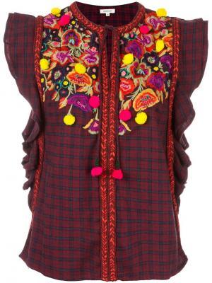 Блузка с цветочной вышивкой Manoush. Цвет: красный