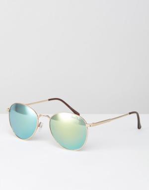 Black Phoenix Круглые солнцезащитные очки с линзами в стиле ретро. Цвет: золотой