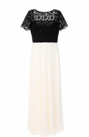 Платье-макси с контрастным кружевным лифом Escada. Цвет: черно-белый