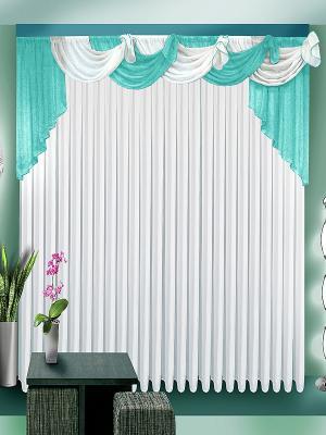 Комплект штор ZLATA KORUNKA. Цвет: белый, голубой