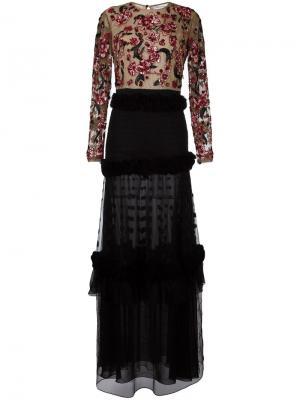 Платье с цветочной вышивкой Zuhair Murad. Цвет: чёрный