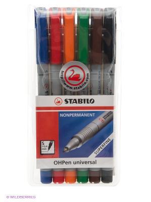 Набор маркерных ручек, 6 цв. Stabilo. Цвет: синий, красный