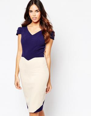 Hybrid Креповое платье с вырезами на рукавах Luxe Omega. Цвет: темно-синий