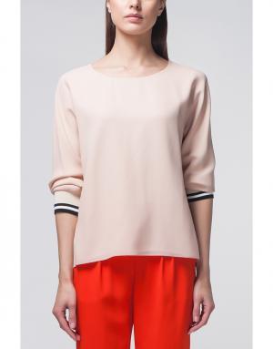 Шелковая блузка Bouchra Jarrar. Цвет: палевый розовый, черный