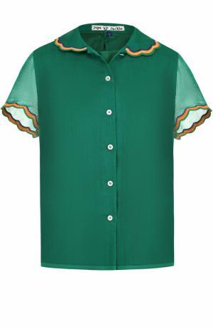 Шерстяная блуза прямого кроя с декоративной отделкой Jupe by Jackie. Цвет: зеленый