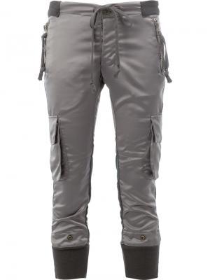 Укороченные брюки карго Greg Lauren. Цвет: серый