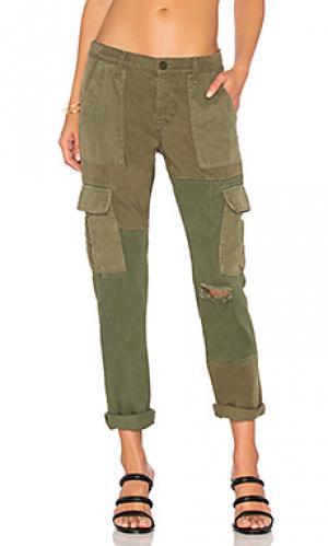 Рабочие брюки карго riley Hudson Jeans. Цвет: оливковый