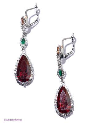 Серьги Royal Diamond. Цвет: красный, зеленый, серебристый