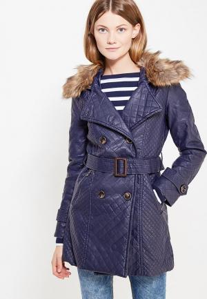Куртка кожаная Softy. Цвет: синий