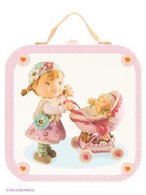 Набор пазлов в квадратном чемоданчике Мама Janod. Цвет: бледно-розовый